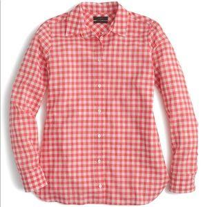 J. Crew Crinkle Gingham Boy Shirt